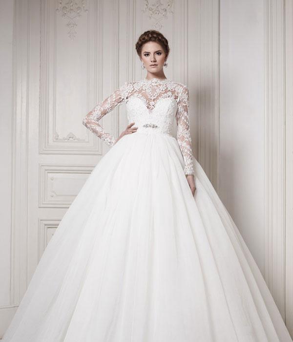 لباس عروس یقه بسته - سایت خرید
