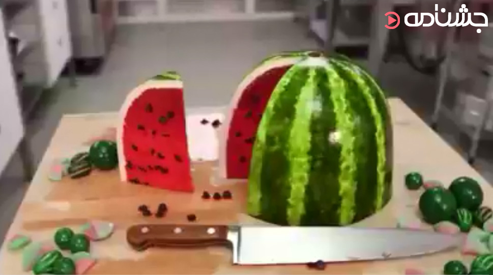 تزئین کیک به شکل هندوانه